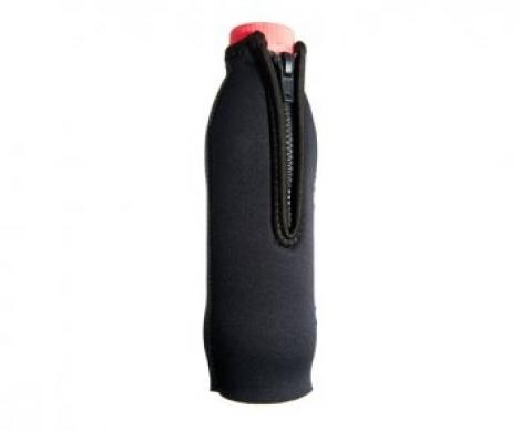 Чехол САРГАН под бутылку 0.5-0.6 л, черный неопрен 5мм, молния, D-кольцо