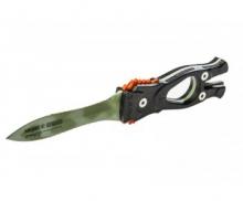 Нож Sargan 'СТАЛКЕР-СТРОПОРЕЗ Z1' - покрытие зеленый камуфляж