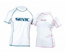 Футболка Seac из лайкры с короткими рукавами, белая/розовая прострочка, женская
