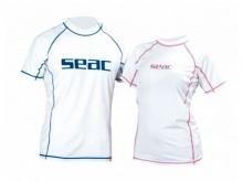 Футболка Seac из лайкры с короткими рукавами, белая/синяя прострочка, мужская
