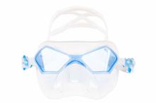 Маска Salvimar INCREDIBILE, прозрачный силикон/голубые линзы
